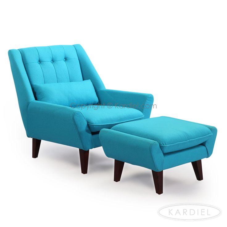 Stuart mid century modern lounge chair ottoman deco blue cashmere wool design pinterest - Deco lounge eetkamer modern ...