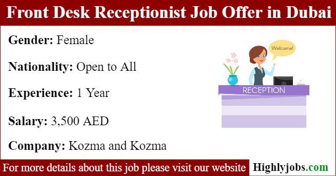 Front Desk Receptionist Job Offer In Dubai Receptionist Jobs Front Desk Job