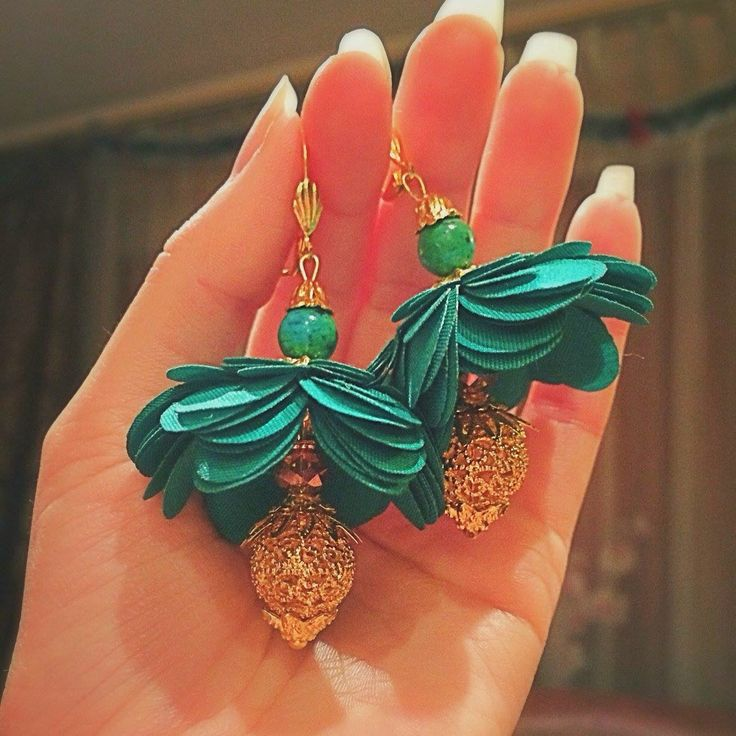 """Handmade green """"Pineapple tree"""" earrings by VilailaDesign 2016"""