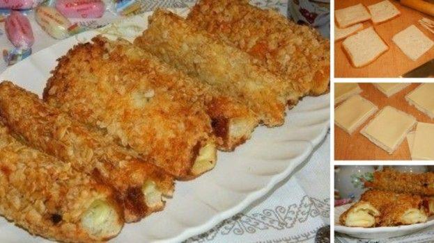 Chrumkavé rolky z toastového chlebíka a ovsených vločiek