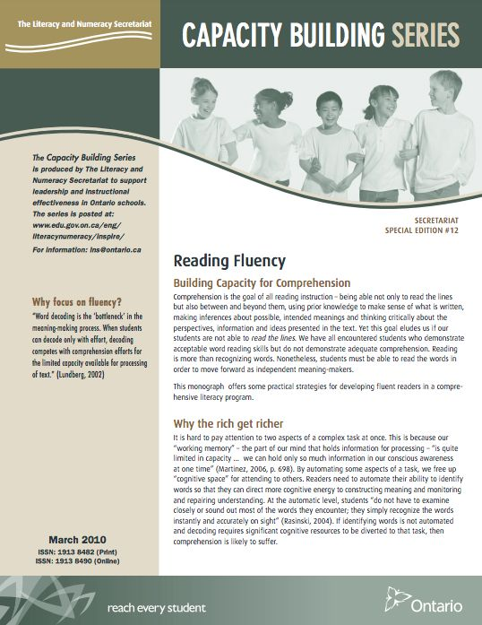 This monograph explains the fundamentals of fluency in a concise and approachable manner. This CBS monograph is helpful because it defines important terminology, explains the key elements of reading fluency and explores opportunities for practicing this necessary skill. It also developed my understanding of how to connect fluency instruction to writing, to ensure that students apply their knowledge in a comprehensive program of reading and writing.