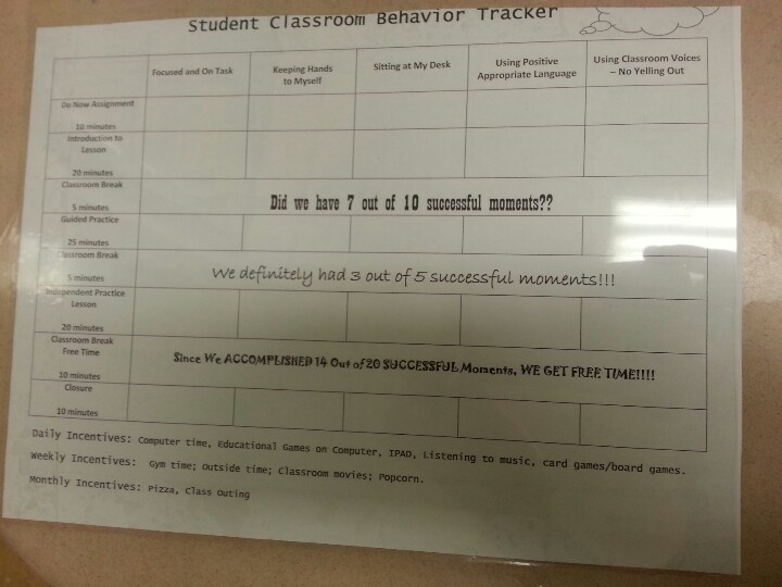 Daily behavior tracker laminated taped on student desk