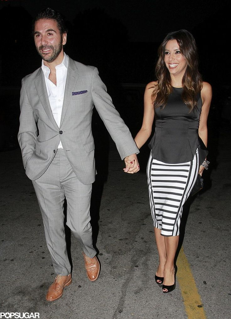 Eva Longoria and her boyfriend, Jose Antonio Baston, stayed close while out in LA on Thursday. love skirt