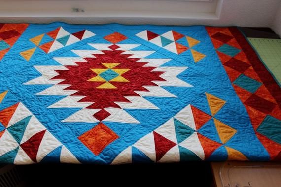 Southwest Quilt Pattern Navajo Inspired Indian Native American Quilt Throw Finished Size 56 X 78 Pdf Download In 2020 Native American Quilt Southwest Quilts Aztec Quilt Pattern