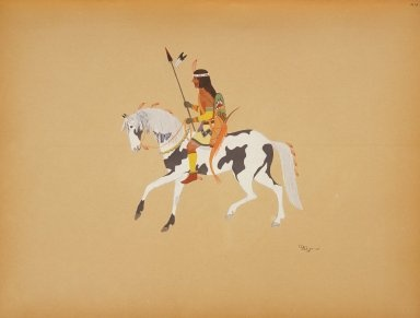 Warrior on a Pinto Pony, Velino Shije Herrera (Zia), painter. Between 1929-1952 C. Szwedzicki produced 6 portfolios of North American Indian art. These works represent original works by 20th Century American Indian artists. For the complete collection see http://digproj.libraries.uc.edu:8180/luna/servlet/univcincin~28~28.