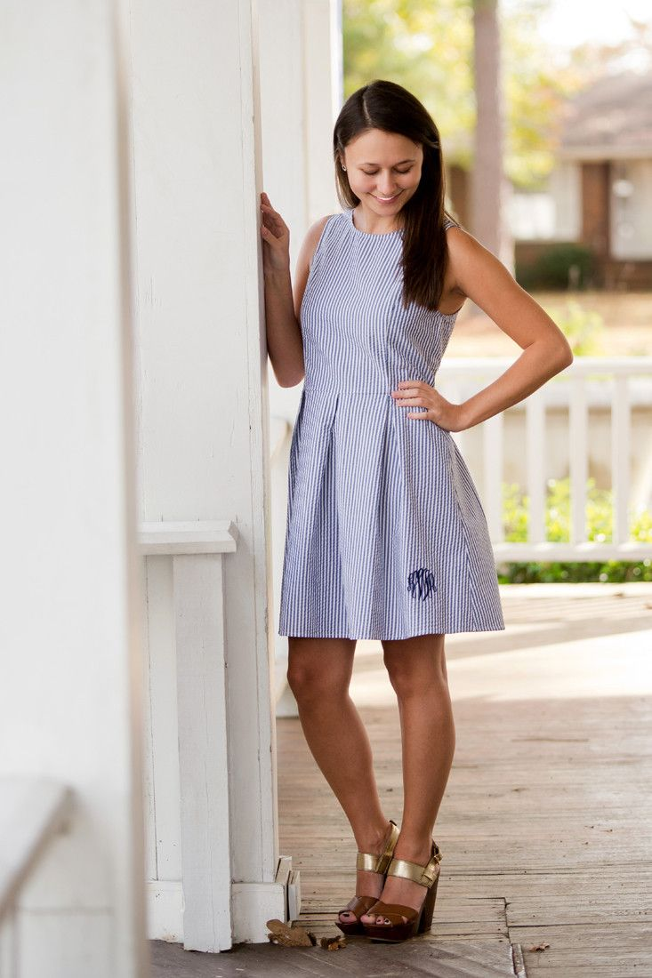 The perfect look for any southern belle. Just add a monogram:) - Available in Sizes S, M, L, XL - Seersucker Material - Back Zipper - Sleeveless - A-Line Fit - Monogram Shown: Master Circle Font/Navy