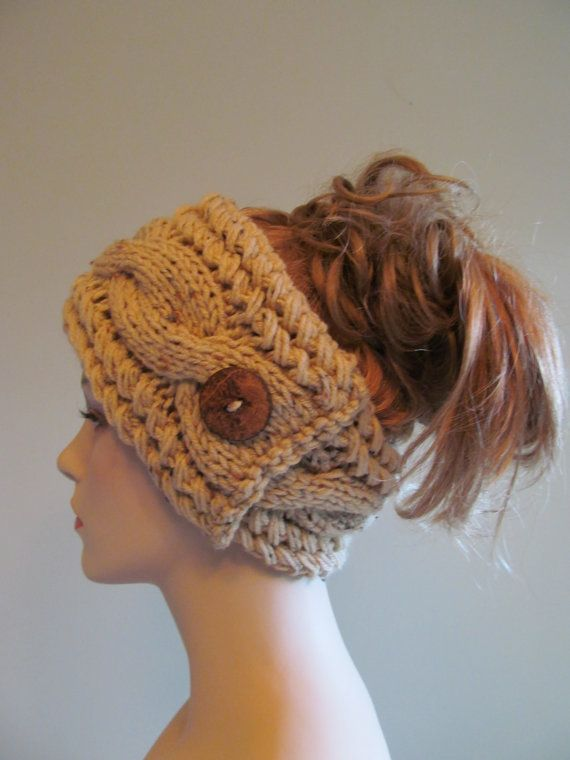 Knitted Cabled Headbands with Button Earwarmers Fall by Lacywork, $28.99