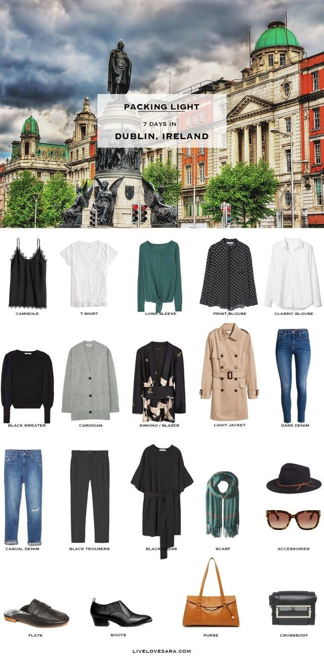 What to Pack for Dublin, Ireland Packing Light List #packinglist #packinglight #travellight #travel #livelovesara