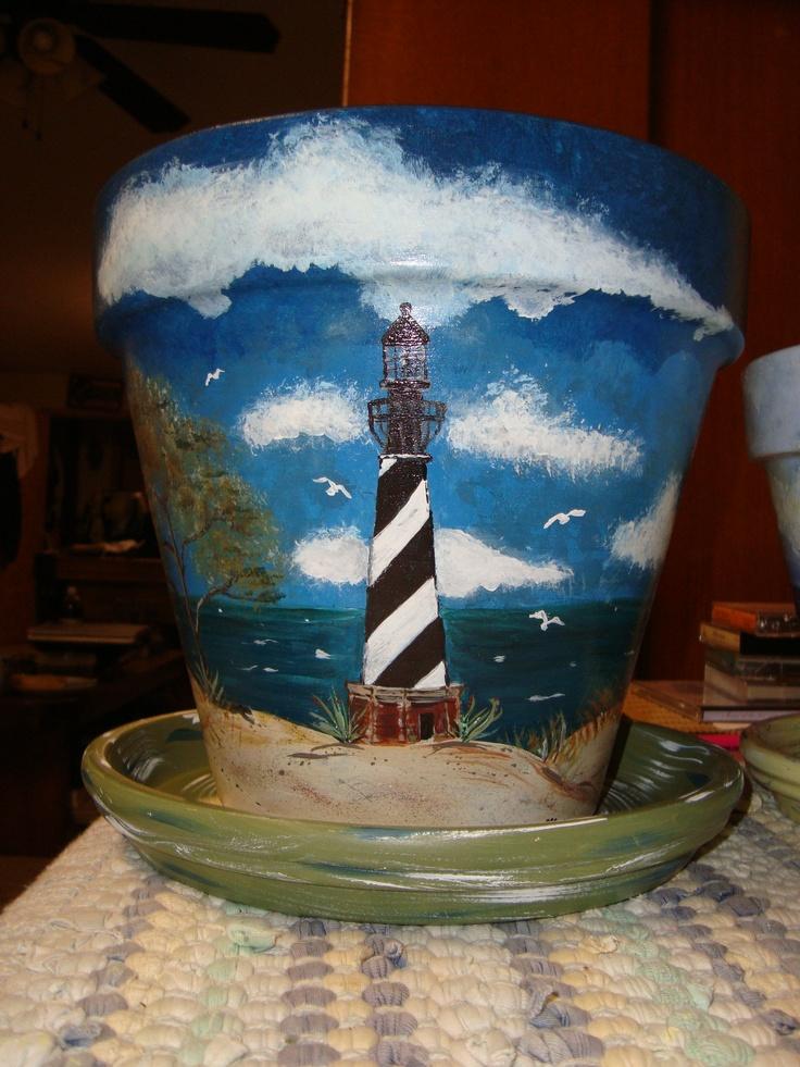 Lighthouse flower pot set. ~by Cheryl Henderson Harry
