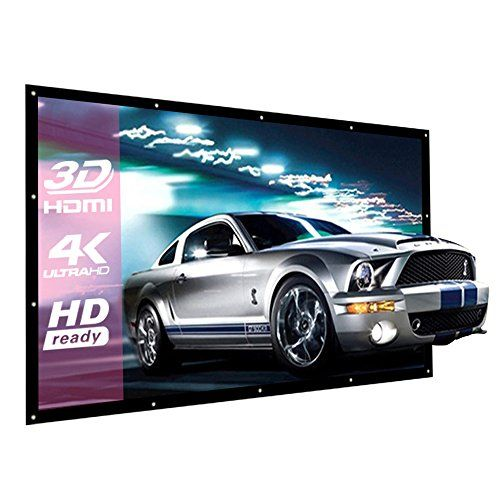 """200 Inch Large Projector Screen 16:9 3D Portable Movie Screen Folding Projection Screen HD for Outdoor Indoor Home Theater  【Application】It is an ideal choice for home theater movies, classroom training, conference room presentations, public display.  【Without Frame】Projector screen without frame and have metal holes, you can use nails, hooks, ropes or velcro to hang it.  【Dimension】16:9 screen format and diagonal 200'' offers 173""""× 94"""" viewing area, packaged in folded professionally, ..."""