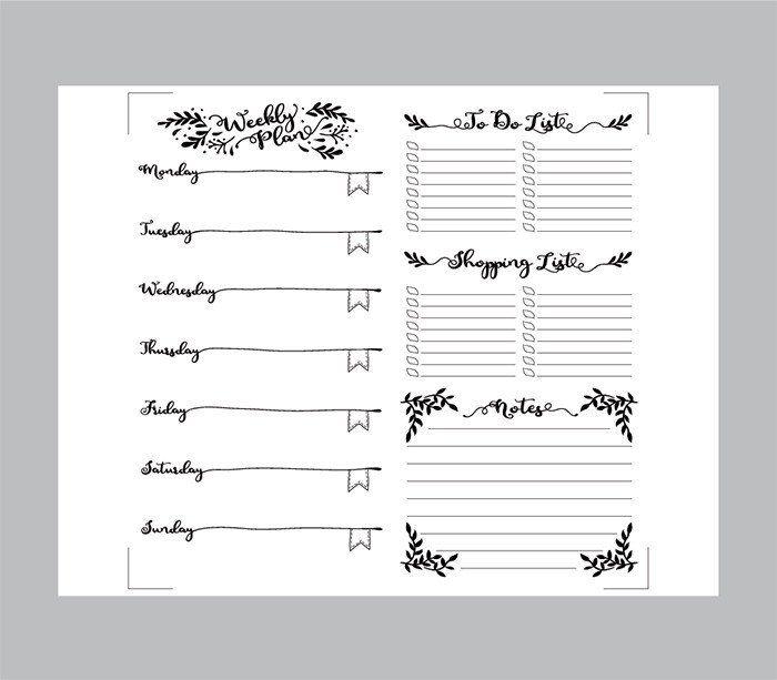 Printable Traveler's Notebook Weekly Insert - Regular TN ...