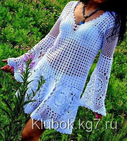 Katia Ribeiro Moda & Decoração Handmade: Saída de Praia Branca em Crochê