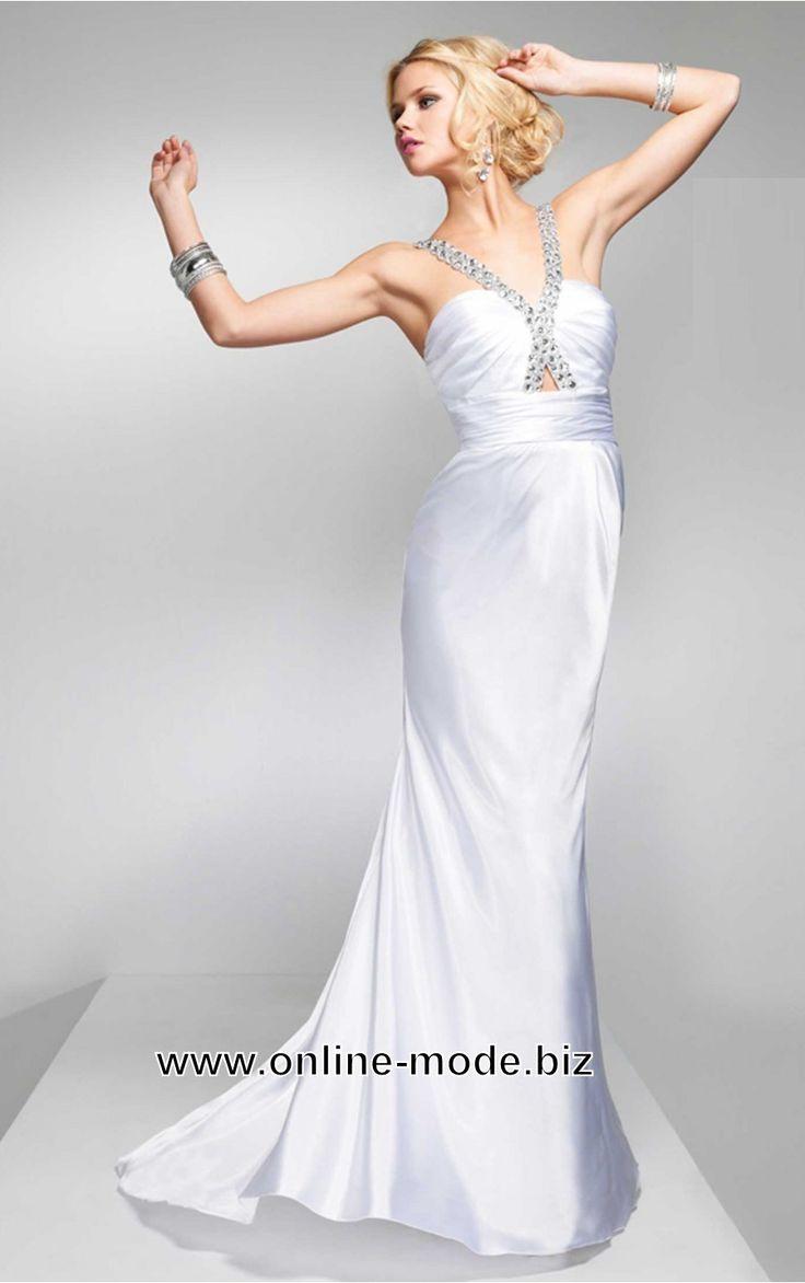 elegantes satin abendkleid in weiss  abendkleid kleider