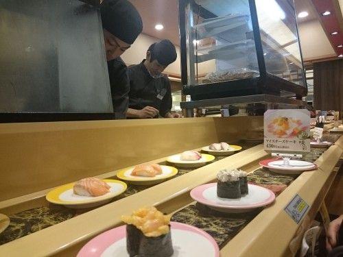 'Kaitenzushi': el sushi que se sirve en una cinta giratoria.
