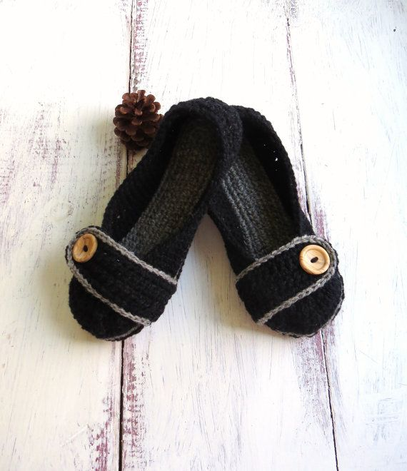 Crochet House Slippers Black and Grey Wool by StoneyCreekKnitters, $30.00