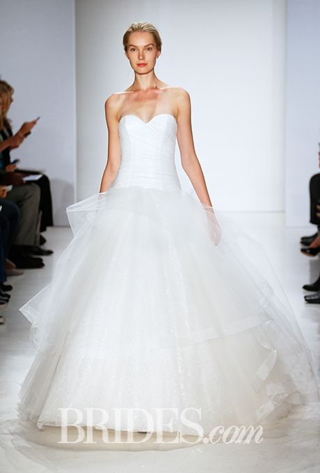 Brides.com: . Strapless tulle ball gown wedding dress with a sweetheart neckline, Kenneth Pool
