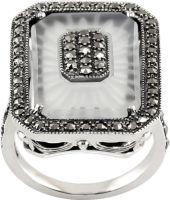 18-1003 Crystal Ring with marcasite in silver ❤️