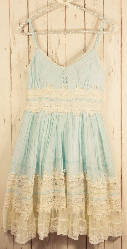 BEACHY--Mint lace dress...........Would be cuter if it were a little longer paired with girly cowboy boots or pink silver sandals........