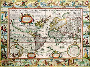 Continent Study--  This Webpage gives links broken down by continent: A political map of each continent, with capitals, flags, languages, & link to google earth views.  (Map of the World by Pieter van den Keere)