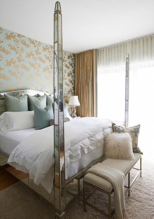 Antiqued Mirrored 4 Poster Bed with Blue Pillows, Transitional, Bedroom