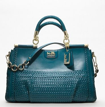 NWT COACH MADISON WOVEN LEATHER CAROLINE-TEAL BLUE-RARE- NO RESERVE