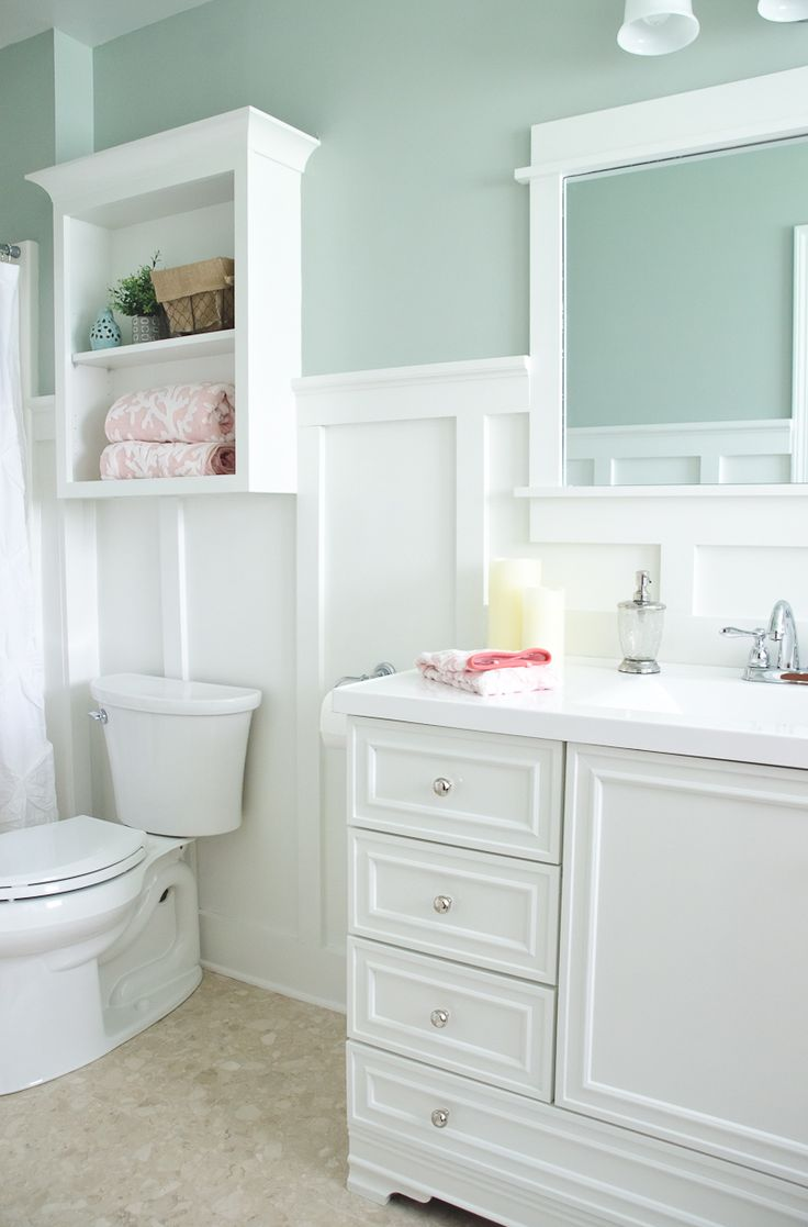 Lowe's Bathroom Makeover - Reveal - Board & batten – all pine, unprimed boards.  1×6 boards and quarter round for the baseboard, 1×3 for the uprights/verticals, 1×4 for the top board, 1×2 for the cap, and cove moulding under the cap. Paint colors – Comfort Gray (walls) & Pure White (board & batten, trim, wall cabinet, & vanity base) from lowes but had to be painted white both Sherwin Williams paint