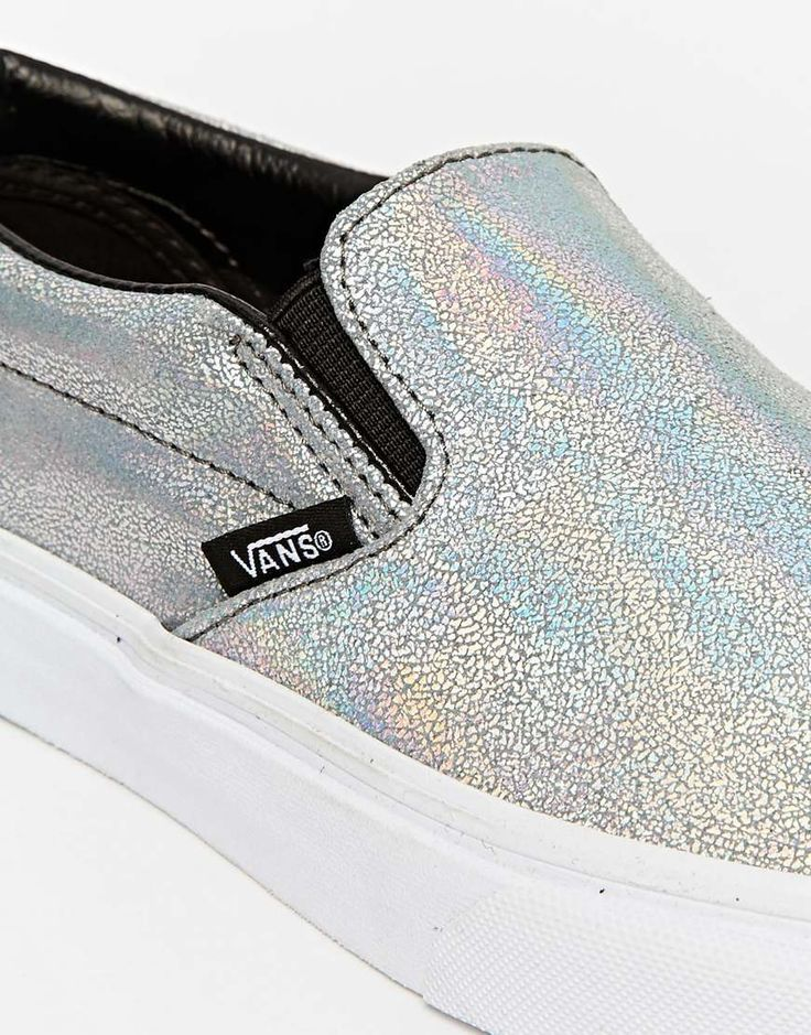 Image 4 of Vans Classic Silver Holographic Slip on Trainers