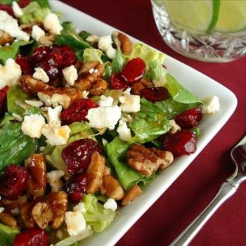 Cranberry Pecan Salad with Feta CheeseAfter having something similar in a restaurant, I just had to start making these at home. Now I'm addicted! When they are in season, I substitute fresh blueberries and/or strawberries for the dried cranberries. Also delicious!