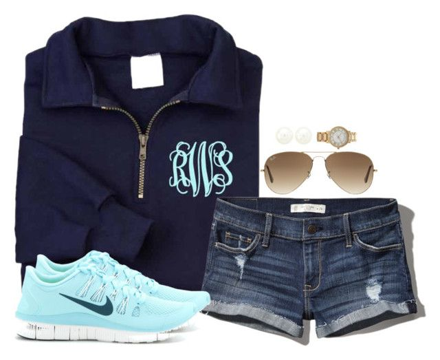 Monograms and nikes by keileeen on Polyvore featuring polyvore, fashion, style, Abercrombie & Fitch, NIKE, Charlotte Russe, Forever 21, Ray-Ban and clothing