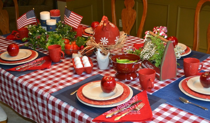 Corner of Plaid and Paisley: Red White and Rooster-4th of July Tablescape  http://jbiggslittlepieces.blogspot.com/2012/06/independence-day.html