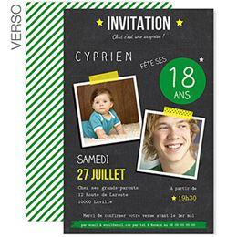 Pop 18 : votre ainé fête ses 18ans : créez une jolie invitation anniversaire avec vos photos pour célébrer cet événement #invitation #18ans