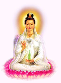 Quan Yin is the Goddess of Compassion and Mercy and the Guardian of Mothers and Children. She is the female aspect of Buddha. She wears the image of Buddha as a headdress on her crown chakra.