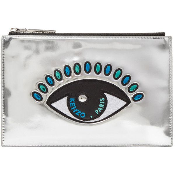 Kenzo Silver Eye A5 Pouch (£87) ❤ liked on Polyvore featuring bags, handbags, clutches, ag silver, silver metallic handbags, zip pouch, zip purse, multi colored purses and multi coloured handbags