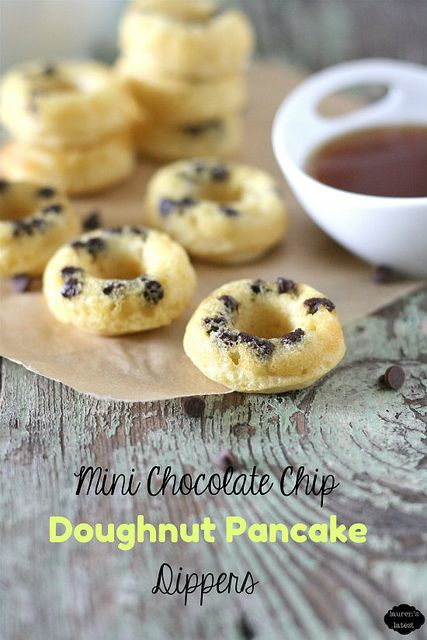 Mini Chocolate Chip Doughnut Pancake Dippers--pancake batter baked in the oven as