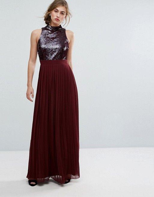 e6d04a2dfa Little Mistress Allover Sequin Top Maxi Dress With Pleated Skirt