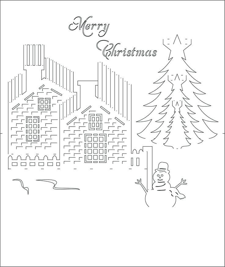 Kirigami Christmas Card Template Happy Holidays Pop Up Pattern 1 With Kirigami Christmas Card Templ Kirigami Templates Pop Up Christmas Cards Kirigami Patterns