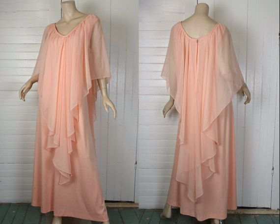 70s Cape Dress in Peach- 1970s Disco Angel Goddess Formal- Chiffon- Extra Large
