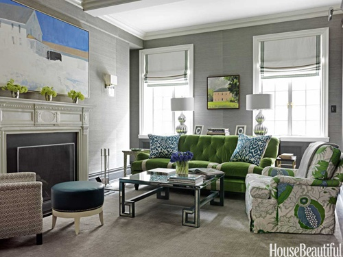 I love the combination of grey, green and blue.: House Beautiful, Living Rooms, Green Couch, Greek Keys, Colors Palettes, Kelly Green, Window Treatments, Families Rooms, Colors Interiors