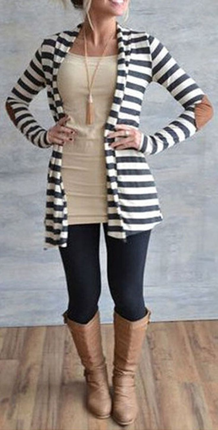 PRODUCT DETAILS – Cardigan sweater – Striped – Suede elbow patchwork – Cotton