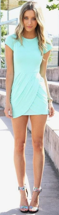 everything about this: Fashion, Summer Dress, Style, Color, Dream Closet, Dresses, Mint Dress