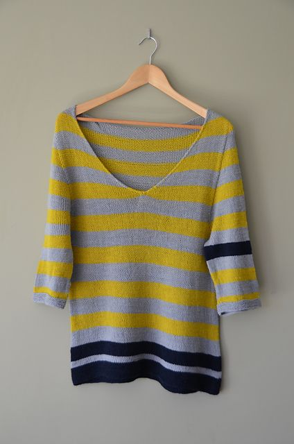 Ravelry: on the beach pattern by Isabell Kraemer....changes a stripe color on one side for visual interest.
