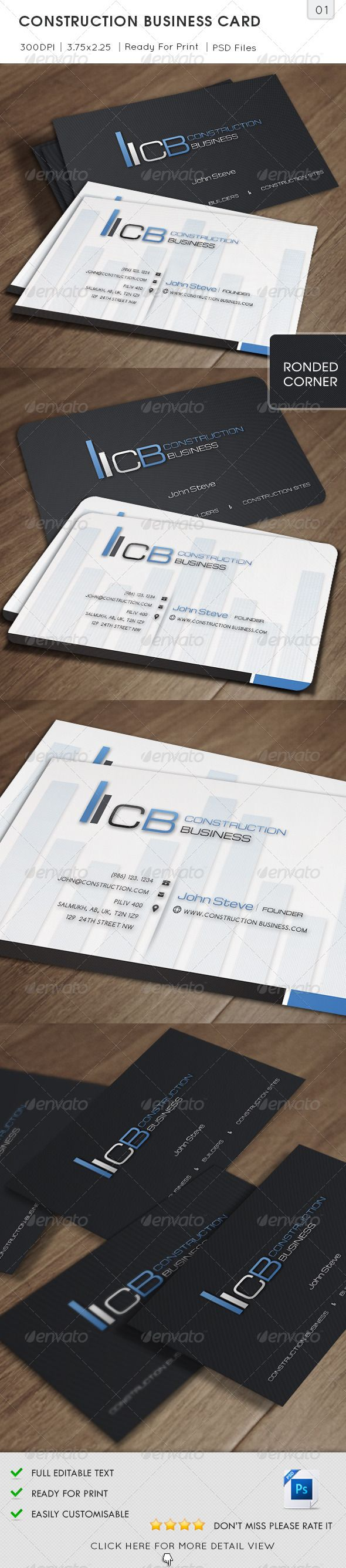 Construction Business Card #GraphicRiver Construction Business Card is especially for a Corporate Constructions or for any other Professionally and Civil Industrial type of Business. 2 Sided Business Card easy to modify. Detail : Fully Layered PSD files Fully Customizable and Editable CMYK Setting 300 DPI High Resolution Bleed Size: 3.75×2.25 in (1/8 in bleeds) (95.25×57.15 mm) Standard Cut Size: 3.5×2 in (89×51 mm) Print Ready Format Horizontal Orientation Font Used: Michroma, Comfortaa…