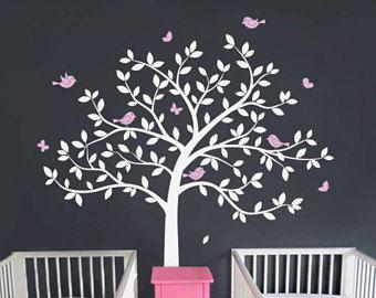 La etiqueta de la pared de pared calcomanía vivero árbol grande árbol árbol de vivero pared Mural pegatinas y etiquetas de la pared aves mariposas pared arte tatuaje naturaleza