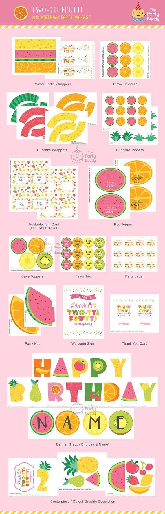Pack fiesta Twotti Frutti  Chicas dulce cumpleaños 2  Fruta