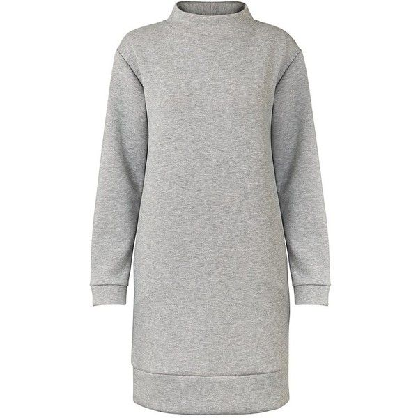 Grey Stockholm Sweat Dress   Oliver Bonas ($99) ❤ liked on Polyvore featuring dresses, military green dress, army green dress, gray dresses, olive green dresses and grey dresses
