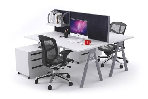 Elements 2 Person Workstation Double Sided With Divider Silver Leg. The 2 person Elements workstation is a great ergonomic workstation solution for an open plan office. Allow for collaboration while maintaining privacy with the included high quality divider screen. The Elements workstation has stylish tapered silver legs with in-built cable trays.