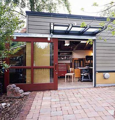 28 best backyard buildings images on pinterest backyard for Sliding glass garage doors