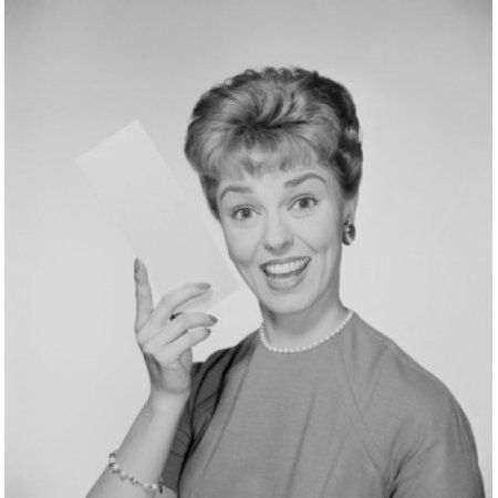 Studio portrait of woman holding envelope Canvas Art - (18 x 24)