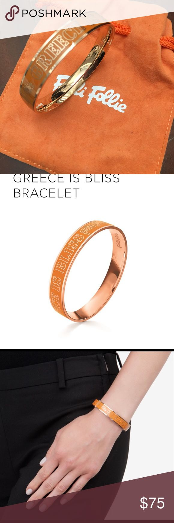 """Folli Follie collector's """"GREECE IS BLISS"""" bangle This is an amazing early piece from the Folli Follie """"GREECE IS BLISS"""" collection. It is in the original orange & rose gold color. The rose gold plating is thick and has not changed color. You can't find them anymore. This one is in unused condition. It comes with its original sachet. Folli Follie Jewelry Bracelets"""