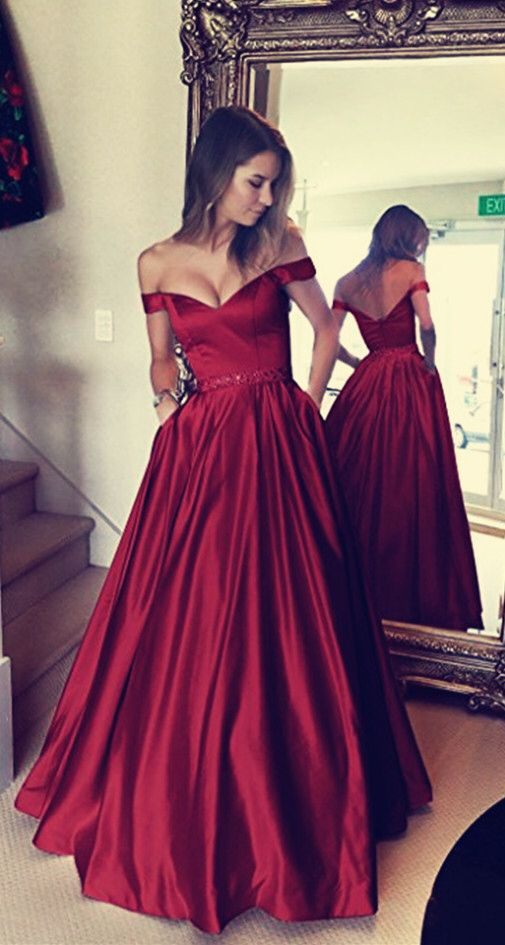2b6915ecaa8a Dark Green Satin V-neck Prom Long Dresses Off Shoulder Evening Gowns Beaded  Sashes in 2019 | dress your life | Off shoulder evening gown, Prom dresses,  ...